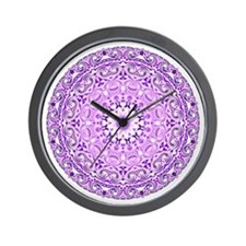 """Purple Lotus Mandala"" Wall Clock"