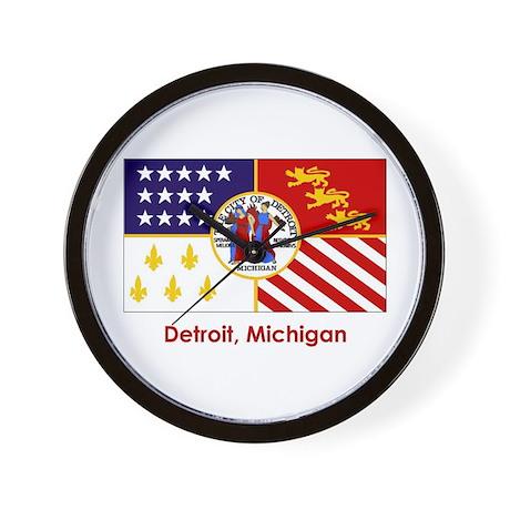 Detroit MI Flag Wall Clock