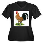 Dutch Bantam Rooster Women's Plus Size V-Neck Dark