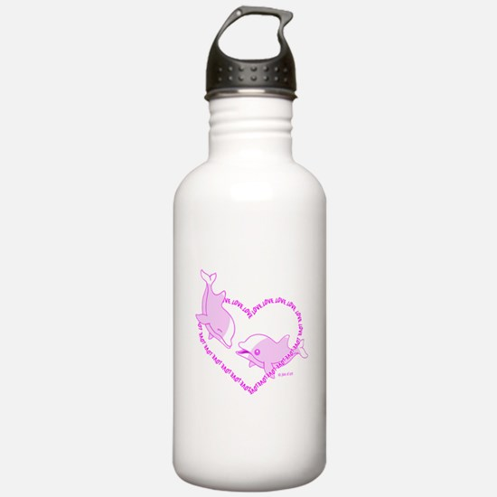 I Love Dolphins (Pink) Water Bottle