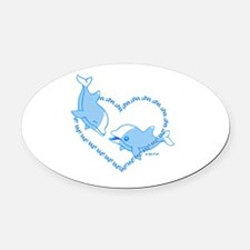 I Love Dolphins Oval Car Magnet