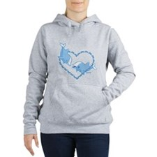 I Love Dolphins (Blue) Women's Hooded Sweatshirt
