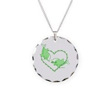 I Love Dolphins(Green) Necklace Circle Charm
