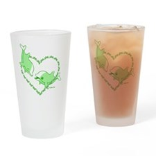 I Love Dolphins(Green) Drinking Glass