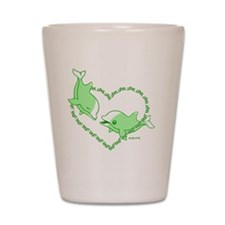 I Love Dolphins(Green) Shot Glass