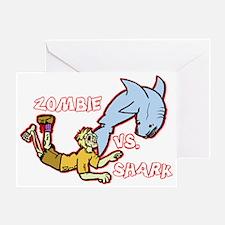 Zombie Vs. Shark Greeting Card