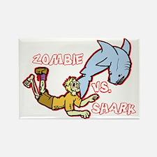 Zombie Vs. Shark Rectangle Magnet