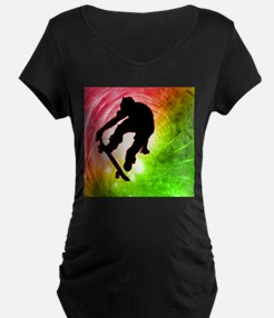 Skateboarder in a Psychedelic Cyclone Maternity T-