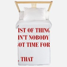 LIST-OF-THINGS-BOD-RED Twin Duvet