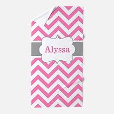 Pink Gray Chevron Personalized Beach Towel