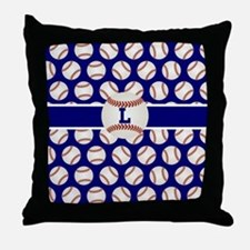 Baseball Blue Monogram Throw Pillow