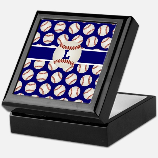 Baseball Blue Monogram Keepsake Box