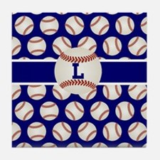 Baseball Blue Monogram Tile Coaster