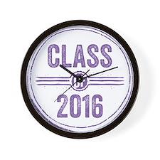 Stamp Class of 2016 Purple Wall Clock