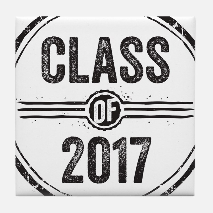 Stamp Class of 2017 Black Tile Coaster