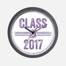 Stamp Class of 2017 Purple Wall Clock