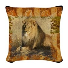 Lion Stamp Woven Throw Pillow