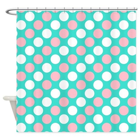 Turquoise White And Pink Polka Dots Shower Curtain By