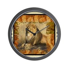 Lion Stamp Wall Clock