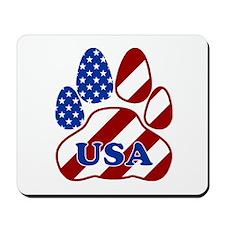 Patriotic Paw Flag W/usa Mousepad
