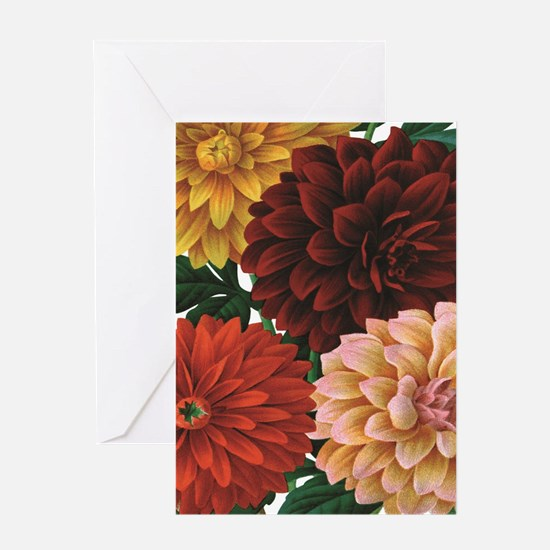 modern vintage fall dahlia flowers Greeting Cards