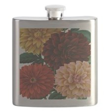 modern vintage fall dahlia flowers Flask