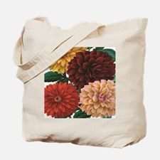 modern vintage fall dahlia flowers Tote Bag