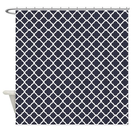 Quatrefoil Navy Blue Pattern Shower Curtain By Admin Cp62117368
