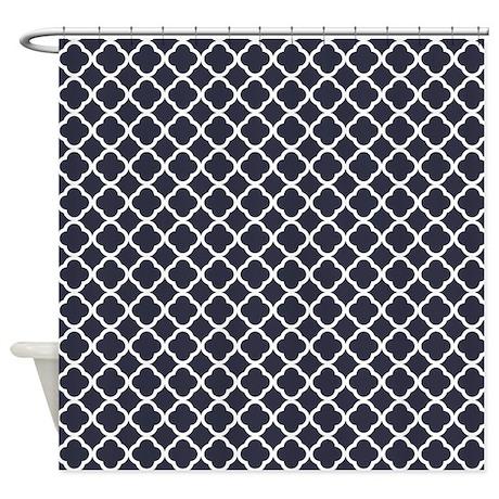 Quatrefoil Navy Blue Pattern Shower Curtain By Admin