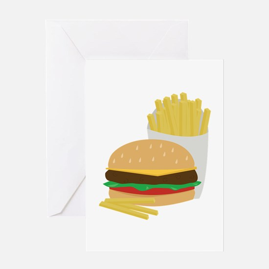Burger and Fries Greeting Cards