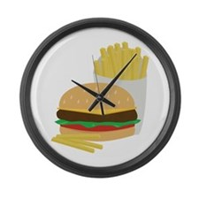 Burger and Fries Large Wall Clock