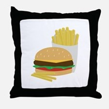 Burger and Fries Throw Pillow