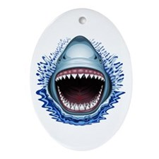 Shark Jaws Attack Ornament (Oval)