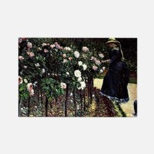 Caillebotte - Roses, Garden at Pe Rectangle Magnet
