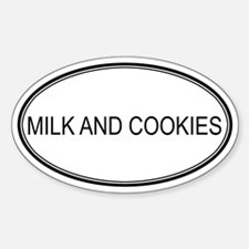 MILK AND COOKIES (oval) Oval Decal