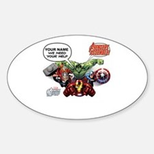 Avengers Assemble Personalized Desi Sticker (Oval)
