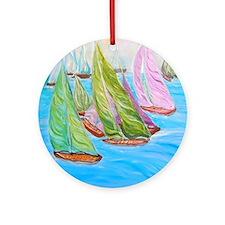 """Happy Boats"" Round Ornament"
