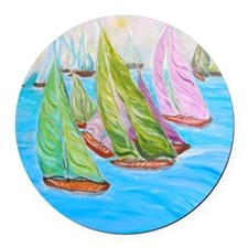"""Happy Boats"" Round Car Magnet"