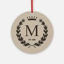 Custom Initial Logo Monogrammed Ornament (Round)
