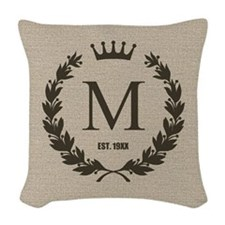 Custom Initial Logo Monogrammed Woven Throw Pillow