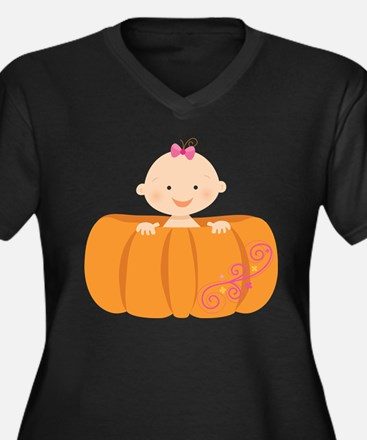 Baby Girl In Pumpkin Shell Halloween Plus Size T-S