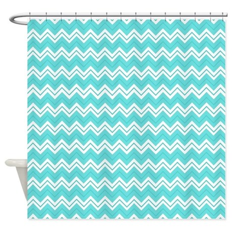 Turquoise Chevron Zigzag Pattern Shower Curtain By Cutetoboot