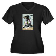 Suffragette Women's Plus Size V-Neck Dark T-Shirt