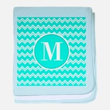 Turquoise Chevron Zigzag Pattern with Monogram bab