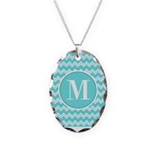 Turquoise Chevron Zigzag Pattern with Monogram Nec