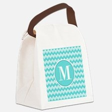 Turquoise Chevron Zigzag Pattern with Monogram Can