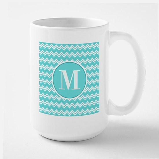 Turquoise Chevron Zigzag Pattern with Monogram Mug