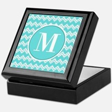 Turquoise Chevron Zigzag Pattern with Monogram Kee