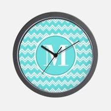 Turquoise Chevron Zigzag Pattern with Monogram Wal