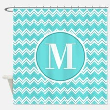 Turquoise Chevron Zigzag Pattern with Monogram Sho